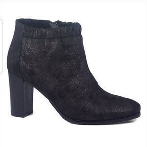 Antelope Ruched-Collar Metallic Leather Bootie